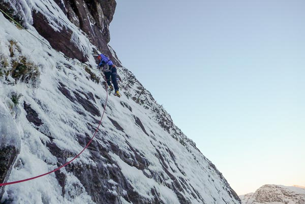 Simon Yearsley making the third ascent of Castro on the South-East Face of Sgurr and Fhidhleir. Two days later, Simon's partner Helen Rennard returned to the Fhidhleir to make an ascent of the Nose Direct. Helen joins a small group of climbers who have climbed more than one route on this prestigious winter cliff. (Photo Helen Rennard)