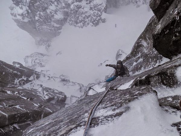 Tom Livingstone following Un Poco Loco (VII,7) on Bidean nam Bian in Glen Coe. Together with Dave Almond, Tom climbed three excellent routes in a period of very windy and stormy weather in the middle of January. (Photo Dave Almond)