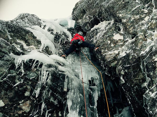 Stuart McFarlane climbing the ice chimney of The Promised Land (VI,6) on Creag an Socach in the Southern Highlands. This pitch is also climbed by Deliverance (VI,6) that had an early repeat in the hands of McFarlane and Dafydd Morris. (Photo Dafydd Morris)