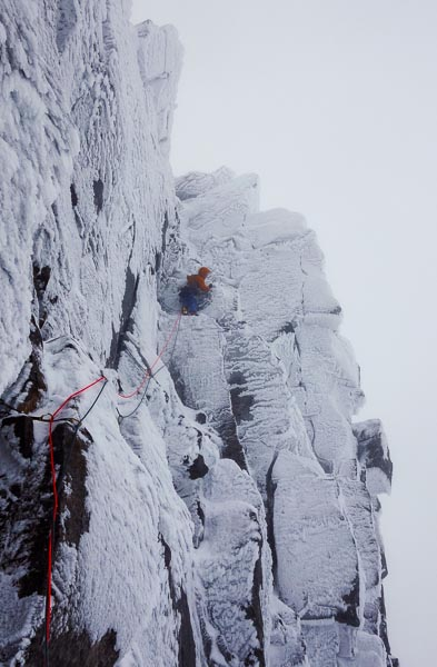 Will Sim on the third pitch of Pale Rider (VIII,9) on the Eastern Ramparts on Beinn Eighe during the second ascent. When the route was first climbed five years ago, Robin Thomas's lead of this Tech 9 pitch was one of the finest on sight leads ever achieved at the time. (Photo Andy Inglis)