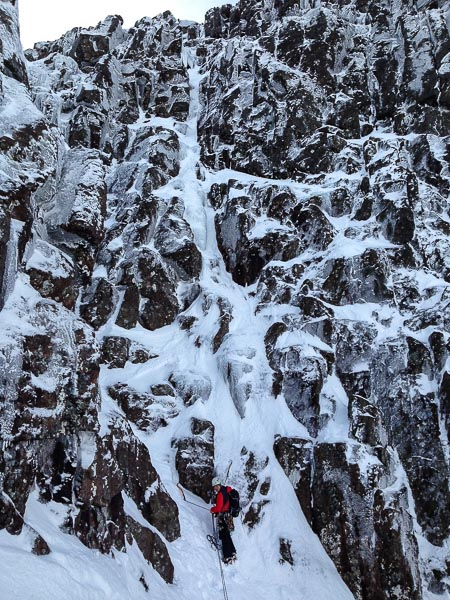 Ken Applegate belaying below the line of Cartouche (IV,4) on Stob Coire nam Beith in Glen Coe. This new 40m pitch makes an excellent finish to classic Grade IV's such as Central Gully and Deep-Cut Chimney on the north face of the mountain. (Photo Nick Stone)