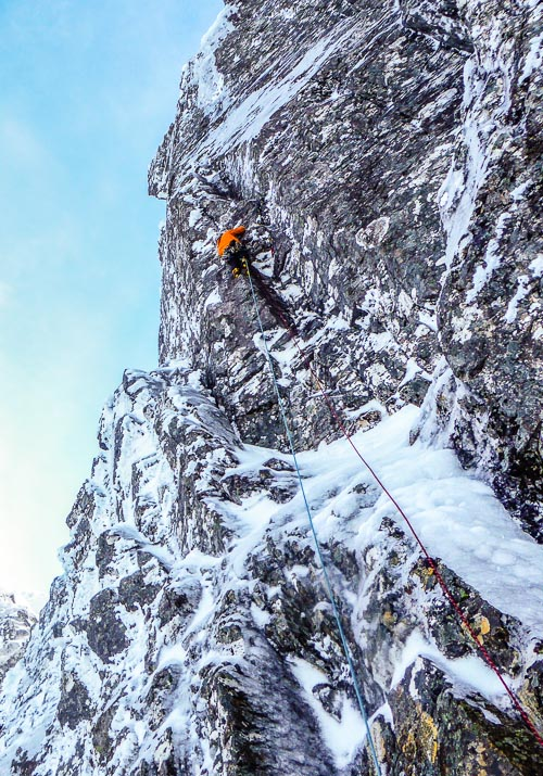 Guy Robertson leading the first pitch of Storm Trooper on Creag Coire na Ciste on Ben Nevis. This was used to access the thin ice smear (above and right of Guy's head) resulting in a new addition called (in keeping with the Star Wars theme) Han Solo (VIII,7). Storm Trooper has two starts – the one climbed by Guy and Uisdean was the start used on the first complete ascent of the route by Andy Turner and Steve Ashworth in January 2008. (Photo Uisdean Hawthorn)