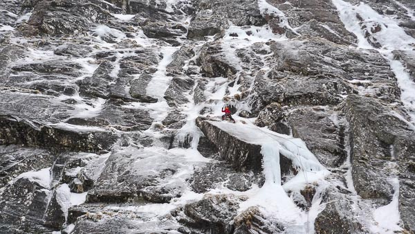Uisdean Hawthorn linking pitches 1 and 2 during an early repeat of Extasy (VIII,8) on Creag Meagaidh's Pinnacle Buttress. This rarely in condition route was first climbed by Dave Hesleden and Bruno Sourzac in 2005 and is one of Scotland's most sought after ice climbs. (Photo Iain Small)