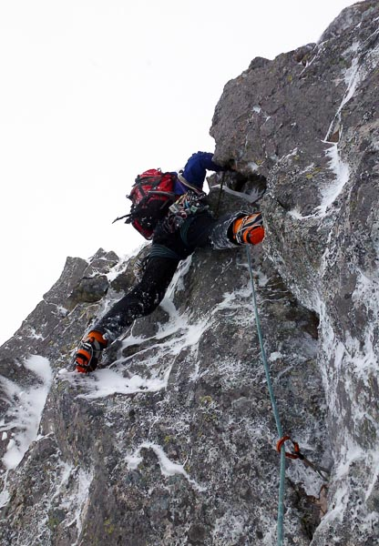Steve Perry on the crux of Waive Wall (V,7) in Coire Garbhlach. This secluded corrie on the south-west side of the Cairngorms massif is seldom visited by winter climbers. (Photo Andy Nisbet)