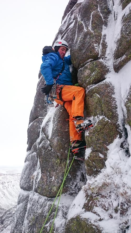 Roger Webb leading the final pitch of Now Winter Bouldering (III,6). This short addition lies on Creagan Cha-no on the east side of Cairn Gorm and is the first new route to be reported this season. (Photo James Edwards)