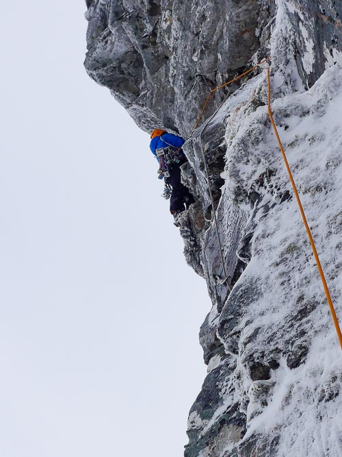 Simon Richardson about to pull into the overhanging offwidth during the first ascent of The Day After Tomorrow (VII,8). This sustained six-pitch route is the most difficult of three mixed routes added to Coire Choille-rais on the south side of Creag Meagaidh earlier this month. (Photo Roger Everett)