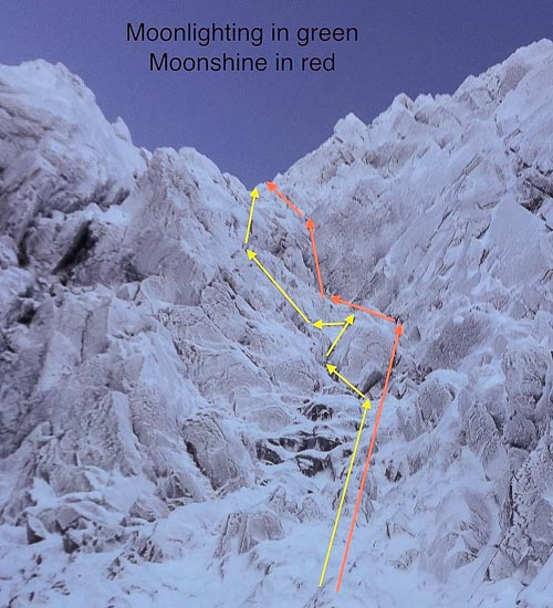 The lines of Moonlighting (V,6) and Moonshine (V,7) on Lost Valley Buttress in Glen Coe. Rab Anderson, Gavin Taylor and N.West made the first ascent of Moonlighting in January 1988 during the active wave of Glen Coe mixed climbing development in the late 1980s. (Photo/Topo: Mark Chadwick)