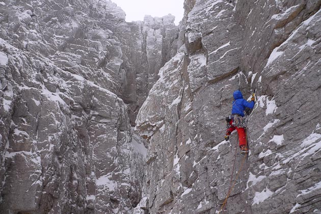 Andy Inglis on the first pitch of Shoot the Breeze (IX,8) on Beinn Eighe. The route was first climbed in winter by Guy Robertson and Greg Boswell in January 2013 and immediately hailed as apotential modern classic. (Photo Iain Small)