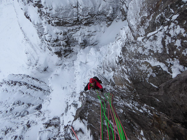 Guy Steven following the second pitch of Bruised Violet (VIII,8) on Beinn Eighe during the second ascent. The route was first climbed by Ian Parnell, who made four attempts before he finally succeeded with Andy Turner in March 2009. (Photo Murdoch Jamieson)