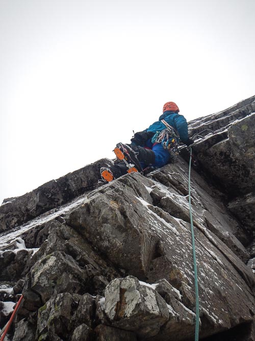 John Crook about to start the crux section of Gothic Edge (VII,7) – a new link up on Number Three Gully Buttress. The crux section up the arête left of the Gargoyle Cracks involved a long run out above a Pecker, so the grade should be treated with a healthy degree of caution. (Photo Peter Graham)