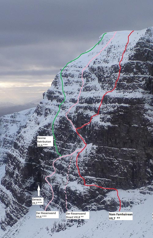 Coire nam Fhamair on Beinn Bhan in Applecross. The lines of Nam Famhairean (VII,7) –red, Der Riesenwand (VII,6) – pink, and Divine Retribution (VII,6) – green are marked. (Photo/Topo Simon Yearsley)