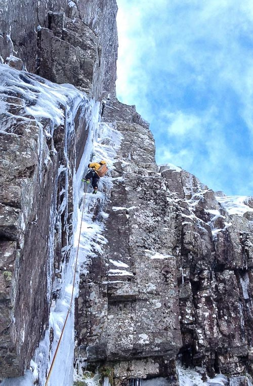 Italian guide Renzo Corona climbing The Shield Direct (VII,6) on Ben Nevis. As far as I know this is the first time this modern classic has been climbed this season. (Photo Renzo Corona collection)