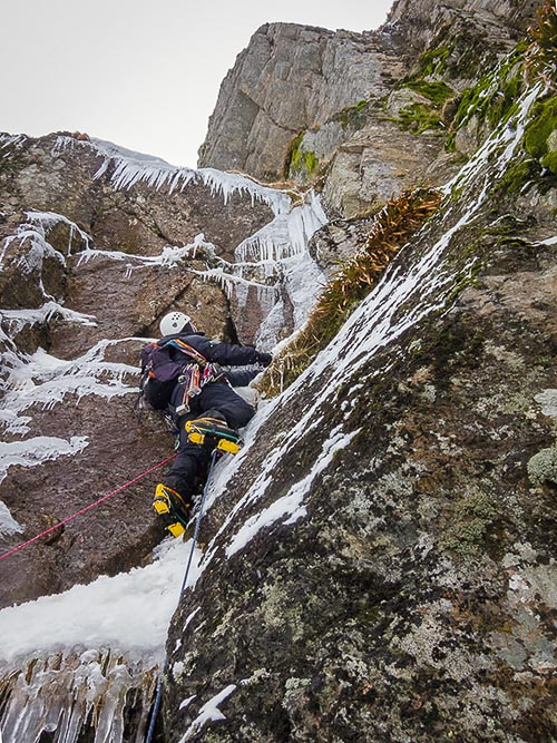 Forrest Templeton on the crux pitch of Moon Ice Jazz (VI,7) in Glen Clova's Winter Corrie. The route is adjacent to Sun Rock Blues and was first climbed by Henning Wackerhage and Robbie Miller in January 2010. (Photo Brian Duthie)