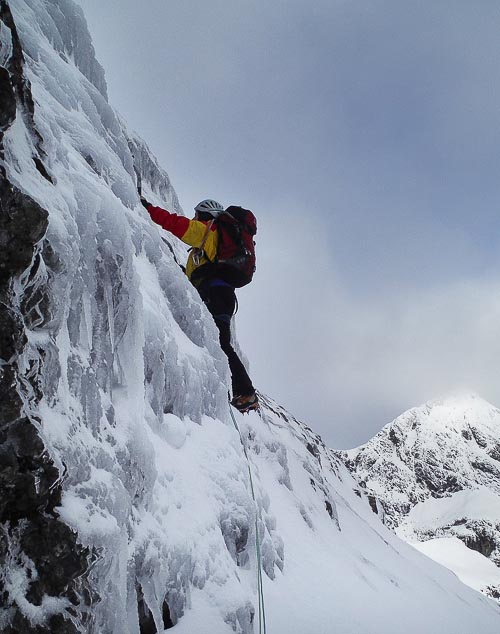 Sandy Alan on the first ascent of The Inaccessible Icefall (IV,4) situated on the north-east flank of the Inaccessible Pinnacle on Skye. This is one of a number of good ice routes added to the Cuillin in recent days. (Photo Andy Nisbet)