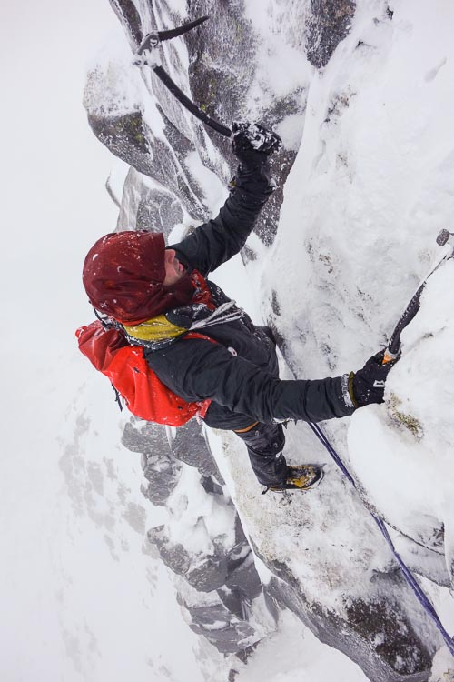 German climber Michael Rinn on the first ascent of a new V,7 on The Stuic on Lochnagar. Unlike previous winter meets, challenging conditions meant new routes were thin on the ground during this year's event. (Photo Simon Richardson)