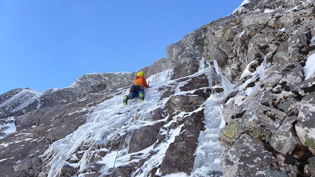 Nick Bullock leading the thin ice smear on Capricorn (VIII,7) on Ben Nevis. This outstanding single pitch addition climbs the thin snaking ice line directly above the twin Grooves of Gemini on the North Face of Carn Dearg. (Photo Tim Neill)