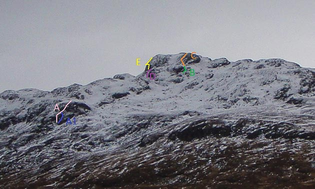 Binnein Shuas North-West Ridge  A. Location, Location, Location (55m III,4), A1. Location, Location, Location via Cave Man Start 55m (III,5) B. Laggan Fantasy (30m IV,5), C. Summit North-West Buttress (40m II). D. Bogle Eyed (30m, III), E. Off Yer Knees (30m, III). (Topo Martin Holland)