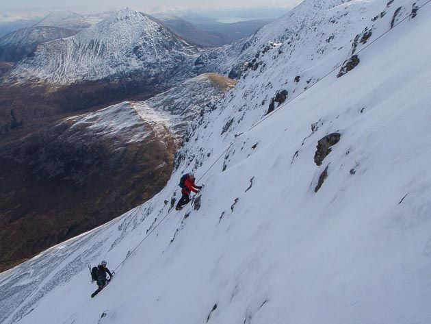 Linda Gentlemen and Lorn Smith on the Left-Hand Finish to S Gully (III) in Coire nan Laogh on Marsco in Skye. (Photo Martin Holland)