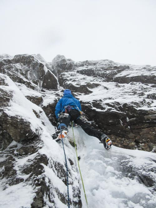 Michael Barnard on the first winter ascent of Sherriff's Ransom (V,6). This is one of nine new winter routes added to The Cuillin during the very successful Skye Winter Festival that took place in January. (Photo Mike Lates)