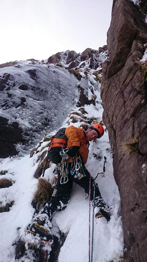 Neil Wilson on the first ascent of A Good Outcome (IV,4) on Beinn Damh in Torridon. The route climbs the broad buttress to the left of Traveller's Trail on the right side of the cliff. (Photo James Edwards)