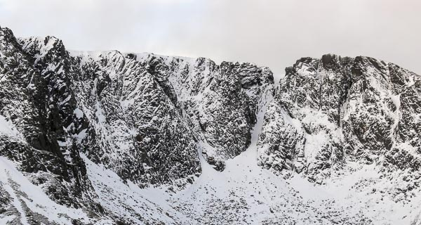 The great North-East Corrie of Lochnagar on the morning of December 28. The eastern edge of the Cairngorms held on to cold air a little longer than the bulk of the Cairngorms before warm south-westerlies swept in later in the day. (Photo Simon Richardson)