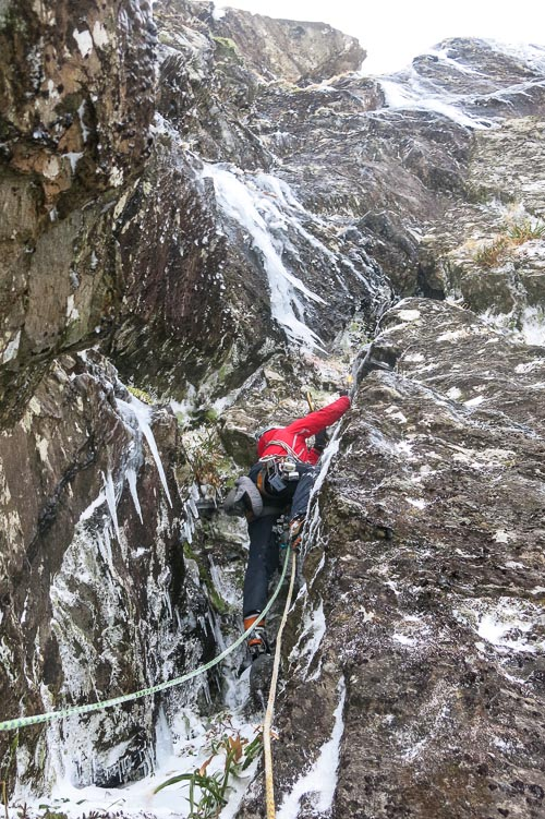 Stuart Macfarlane on the first pitch of Clockwork Orange (V,4) on Beinn an Lochain in the Southern Highlands. Last week's ice blast brought a good variety of routes into condition right across the country. (Photo Brian Shackleton)