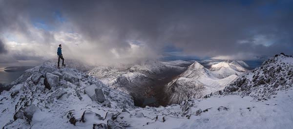 The magnificent view from the summit of Bla Bhein across Loch Coruisk and the Cuillin. Five new routes were climbed during Skye Winter Festival in January. Despite its proximity to the sea, the mixed climbing in Skye comes rapidly into condition after a heavy snowfall. (Photo Mike Lates collection)